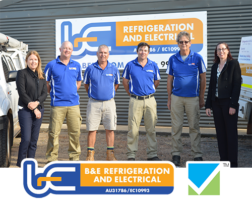 BE Electrical and Air conditioning team with logos underneath
